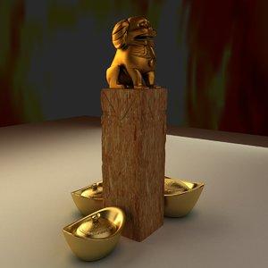 chinese lion gold ingot 3d model