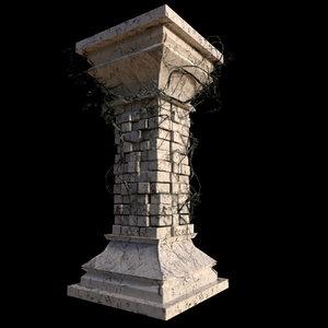 old column ivy 3d obj