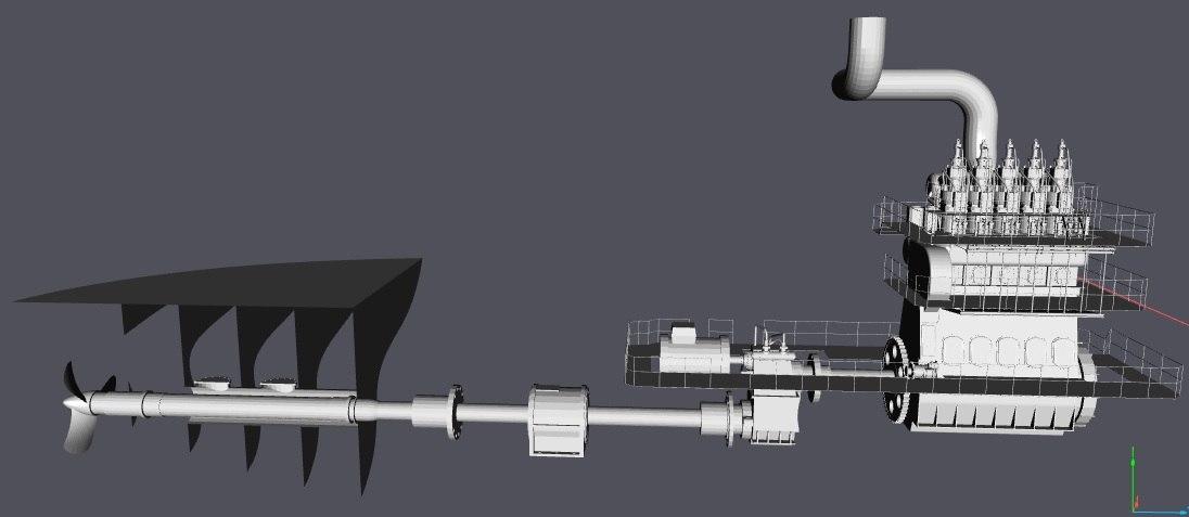 main engine cargo ships 3d model
