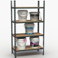 Buckets on shelves