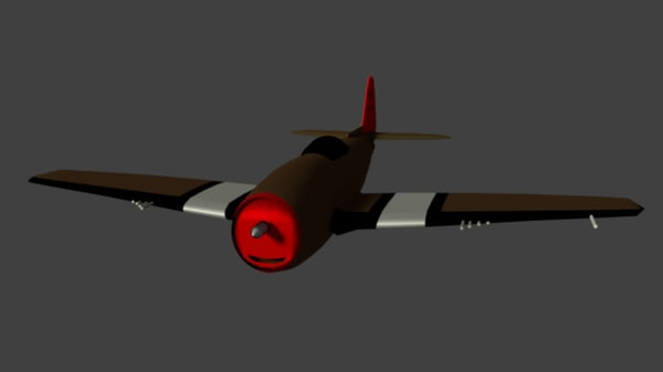 world war thunderbolt p-47 3d model