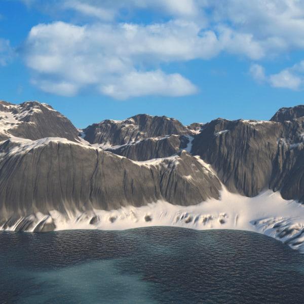 3d model arctic landscape mountain
