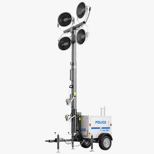 3d model police light tower