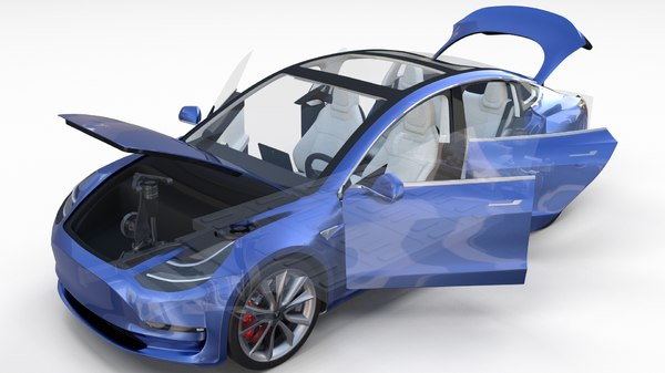 3d model tesla 3 interior chassis