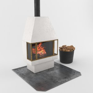 3d realistic fireplace