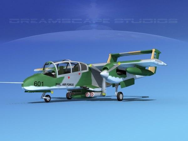 3d obj propellers rockwell ov-10 bronco