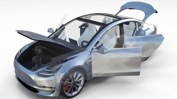tesla 3 interior chassis 3d model