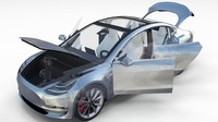 Tesla Model 3 Silver with interior and chassis