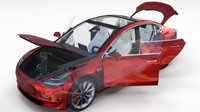 Tesla Model 3 Red with interior and chassis