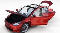 Tesla Model 3 Red with interior