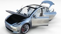 Tesla Model 3 Silver with interior
