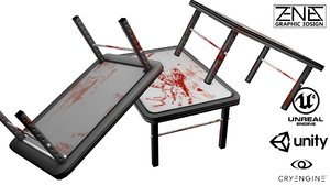 3d post-apocalyptic bloody table model