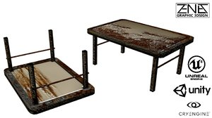 post-apocalyptic rusty table 3ds