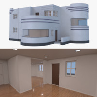 3d streamline moderne home interior model