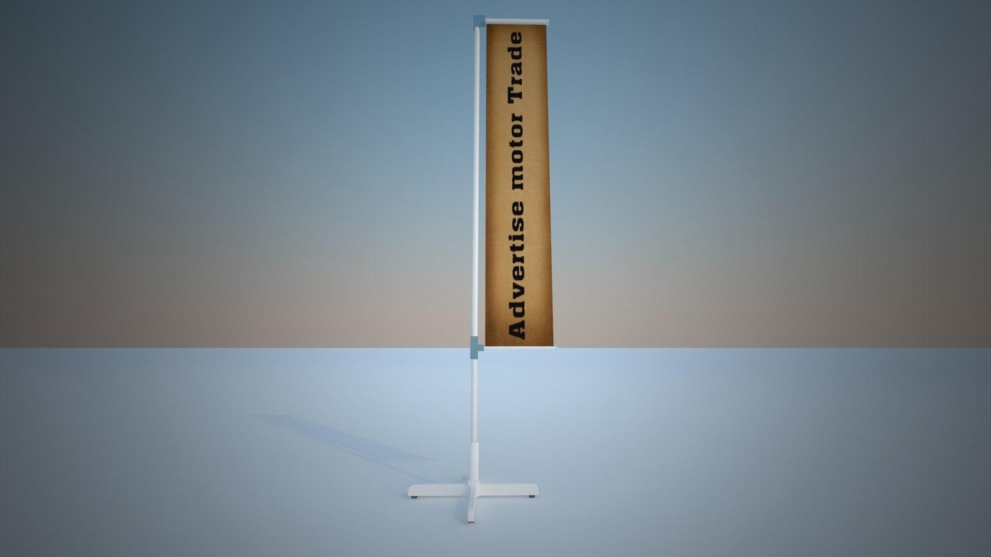 stand flag modul advertising 3d model