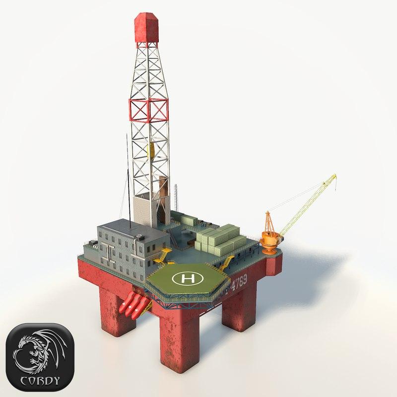 oil platform 3d max