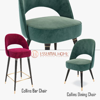 3d collins bar chair dining model