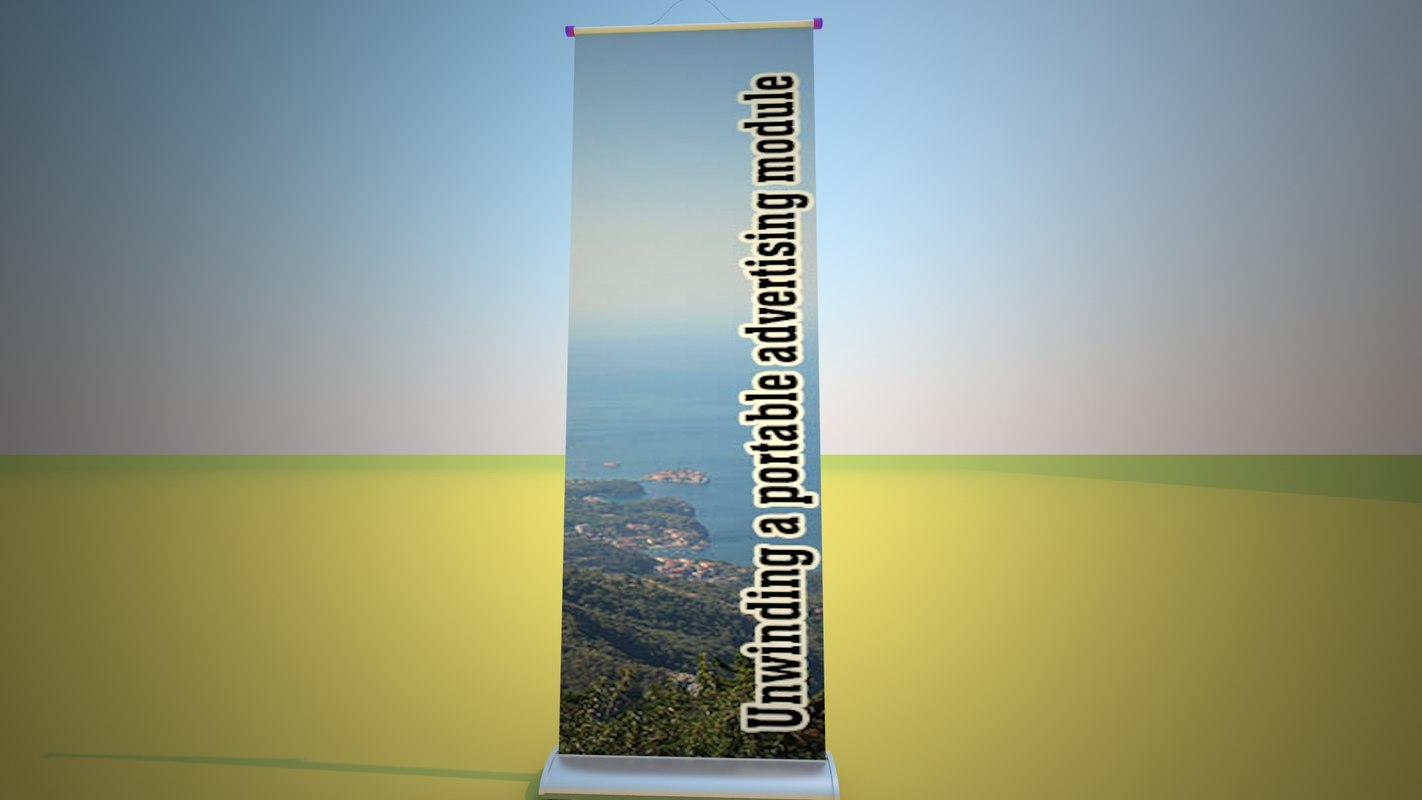 stand unwinding portable advertising 3d model