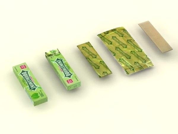 3d doublemint chewing gum model