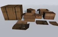 3d cardboard box pack model