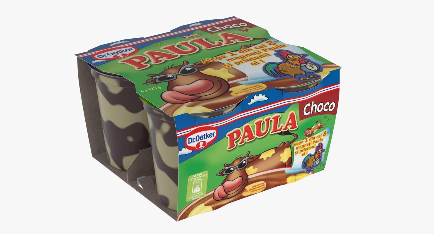 3d model packaging paula pudding