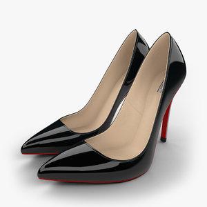 3d realistic black stiletto shoes