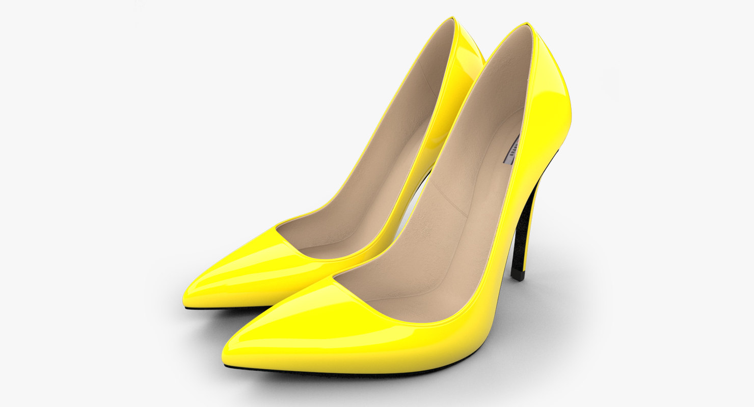 3d realistic yellow stiletto shoes