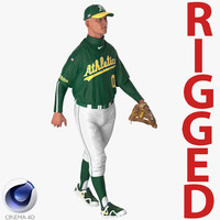 baseball player rigged athletics 3d model