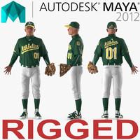 3d model baseball player rigged athletics