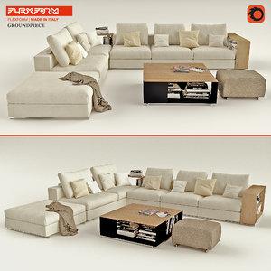 3d model sofa flexform groundpiece