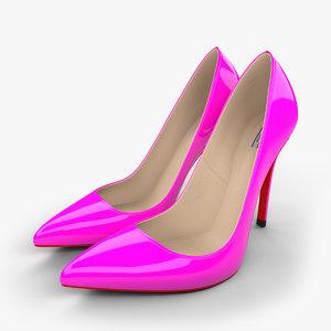 3d realistic pink stiletto shoes model