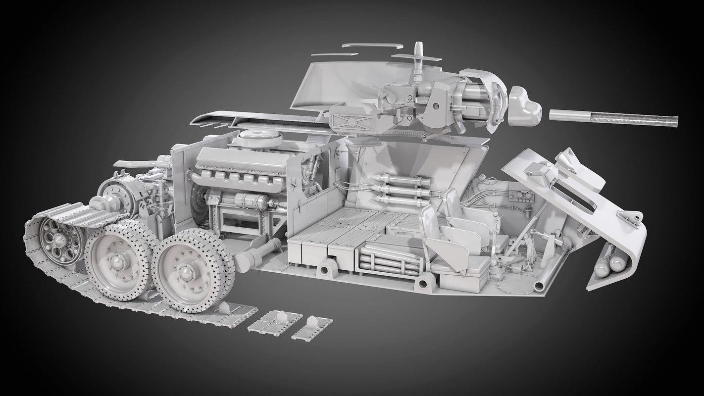 3d model tank t34 details