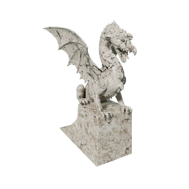 statue dragon 3 poses 3d obj
