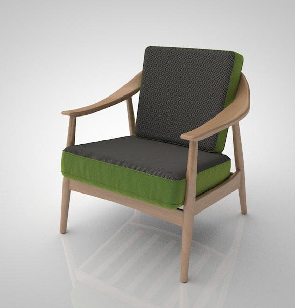 swedish armchair 3d c4d
