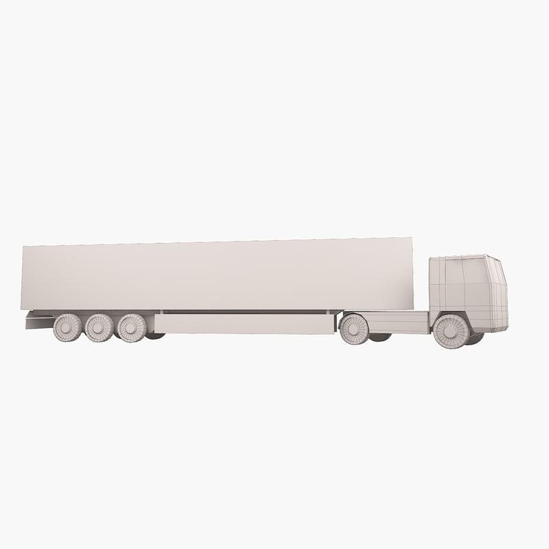 3d simple trailer truck