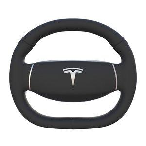 tesla 3 steering wheel 3d obj