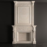 3d beige fireplace