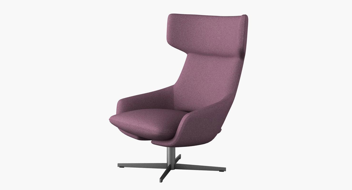 kalm swivel lounge chair 3d model
