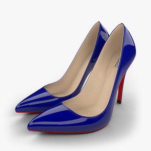 realistic blue stiletto shoes 3d model