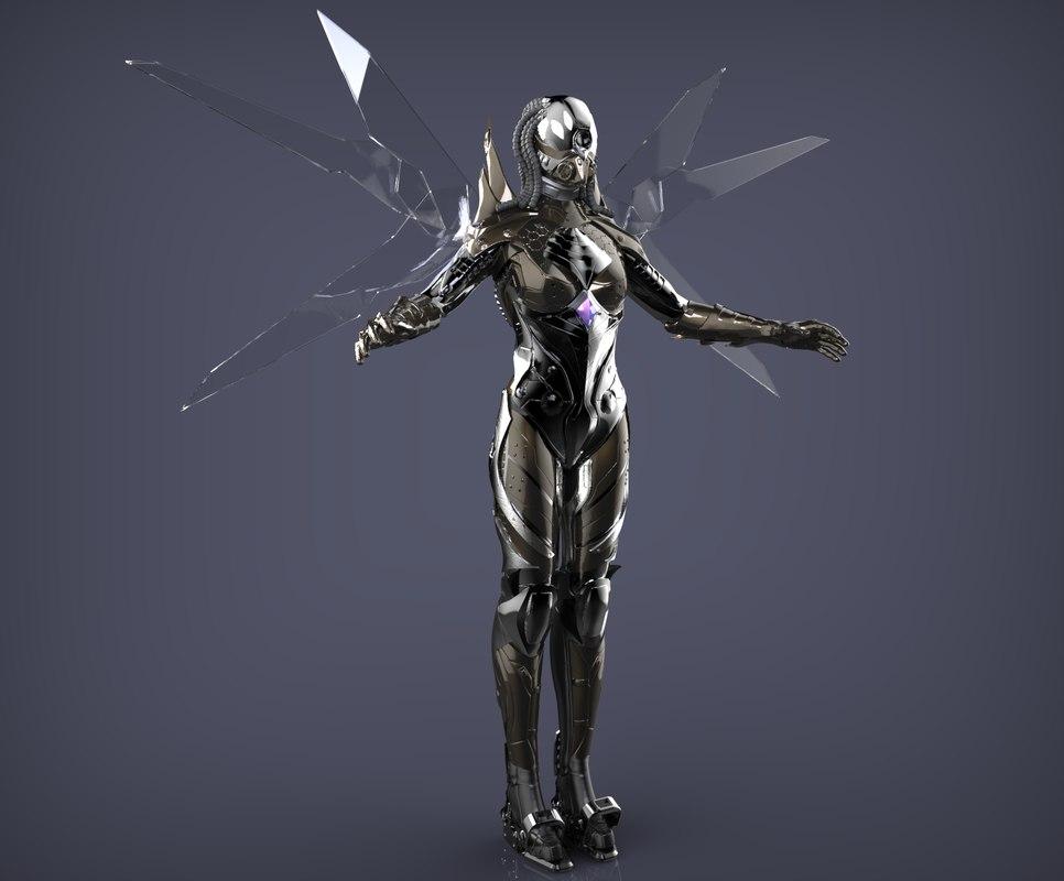 3d concept female character model