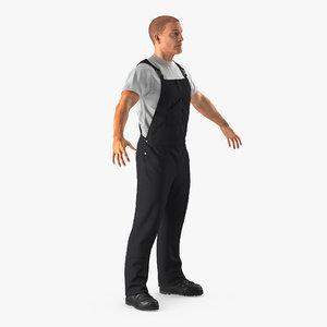 worker wearing black overalls 3d model