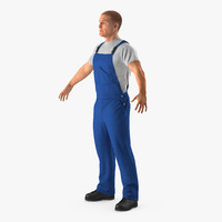 worker wearing boiler suit 3d 3ds