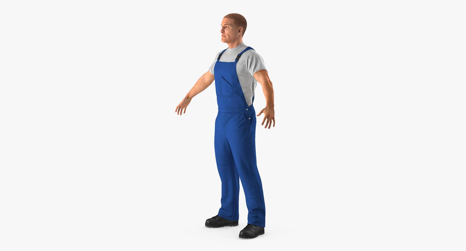 worker wearing boiler suit 3d 3ds