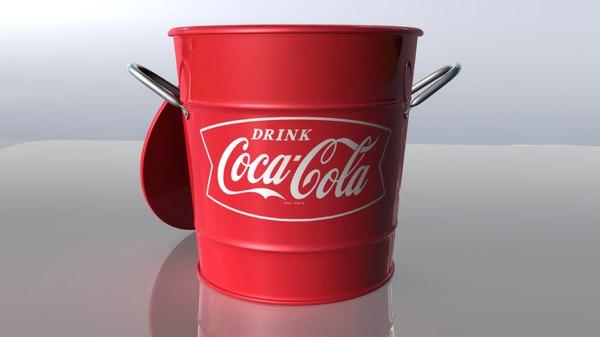 coca-cola ice bucket coke 3d model