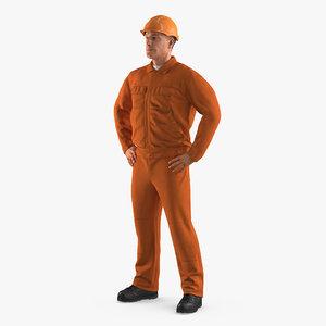 factory worker orange overalls 3ds