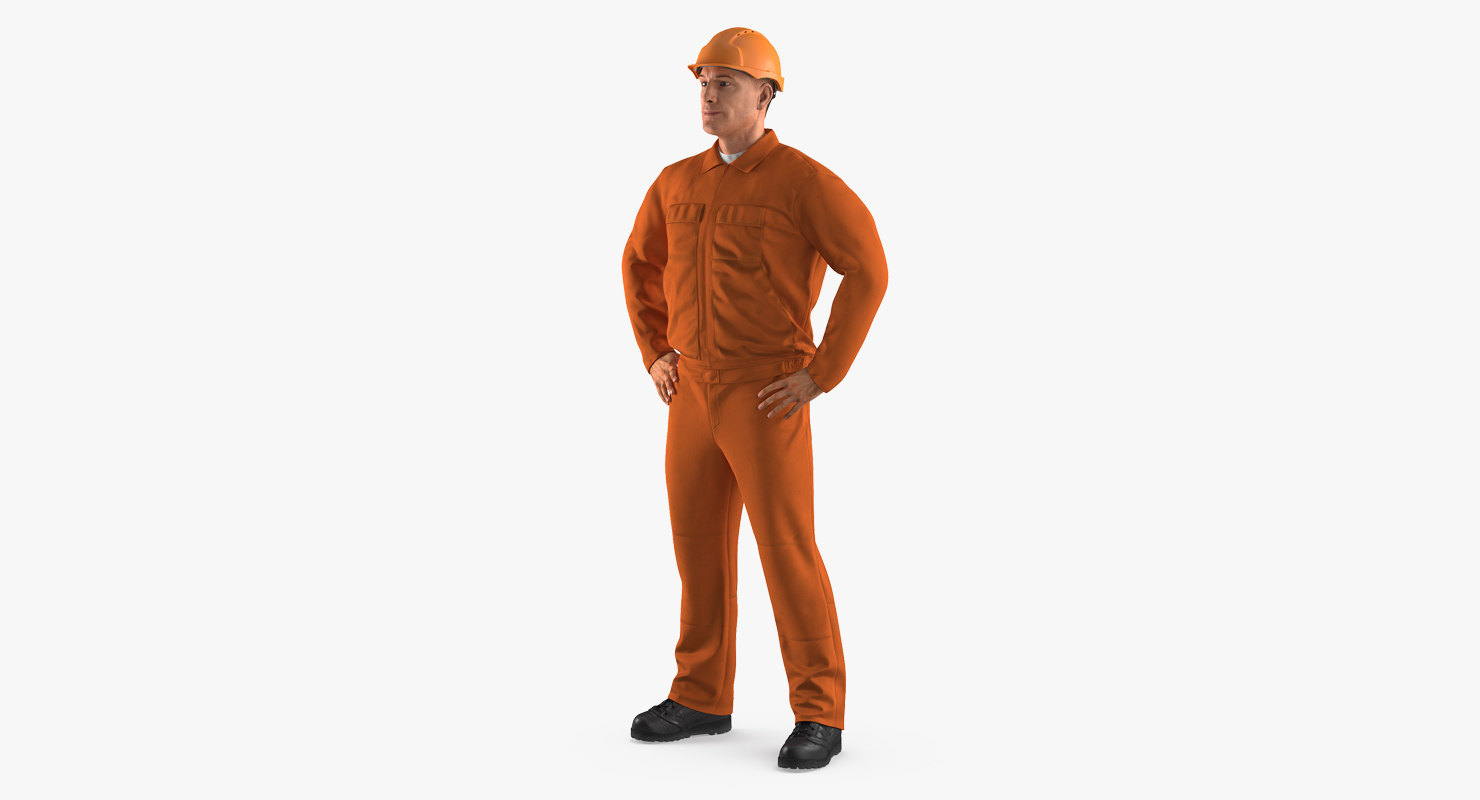 factory worker orange overalls 3ds