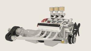 3d model hemi engine transmission
