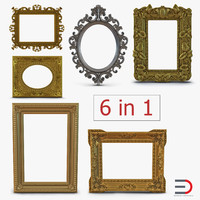 3d model baroque picture frames 4