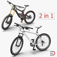 mountain bikes rigged 3d model