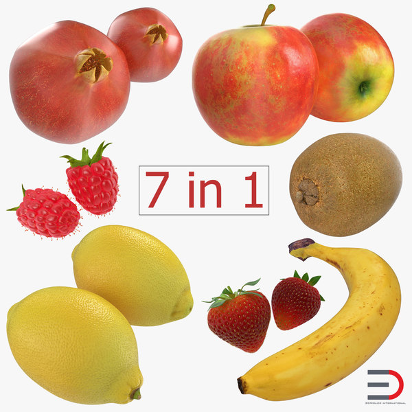 3d model fruits 2 modeled apple